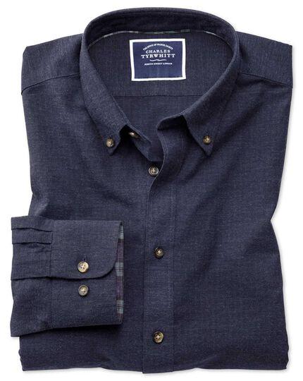 Gesprenkeltes Classic Fit Hemd mit Fischgrätmuster in Blau