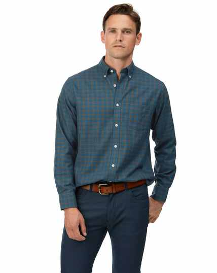 Classic fit soft washed non-iron twill teal check shirt