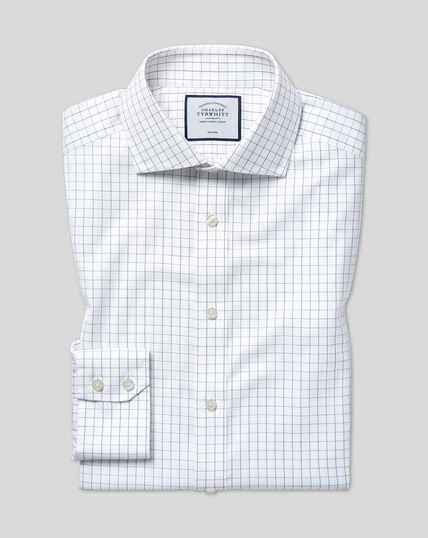 Spread Collar Non-Iron Cotton Stretch Check Shirt - Blue