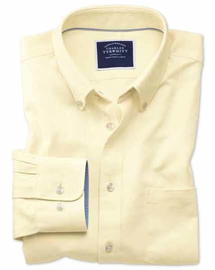 Slim Fit Oxfordhemd mit Button-down Kragen in Hellgelb