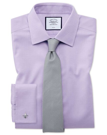 Slim fit non-iron lilac triangle weave shirt