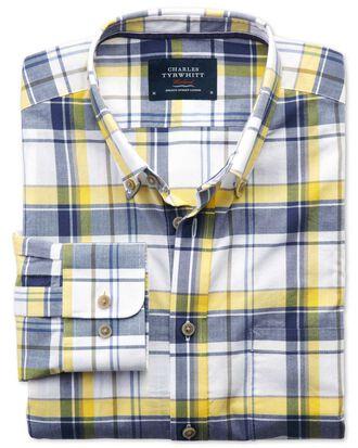 Slim Fit Hemd aus Popeline in Marineblau und Gelb mit Karos