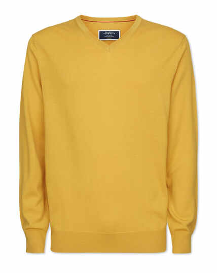 Yellow merino v neck jumper