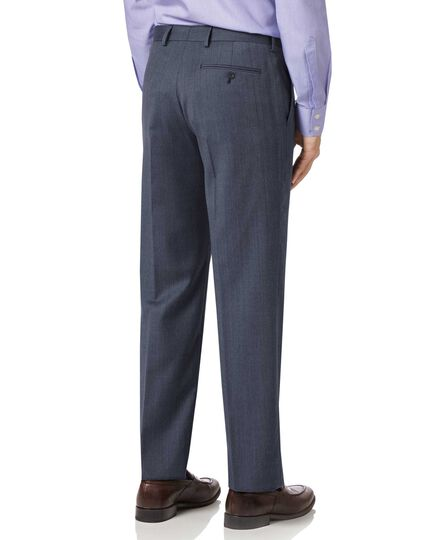 Light blue classic fit twill business suit trousers