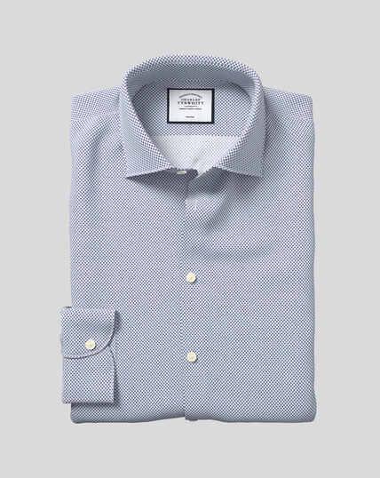 Bügelfreies Hemd mit Business-Casual-Kragen und Motivdruck - Marineblau