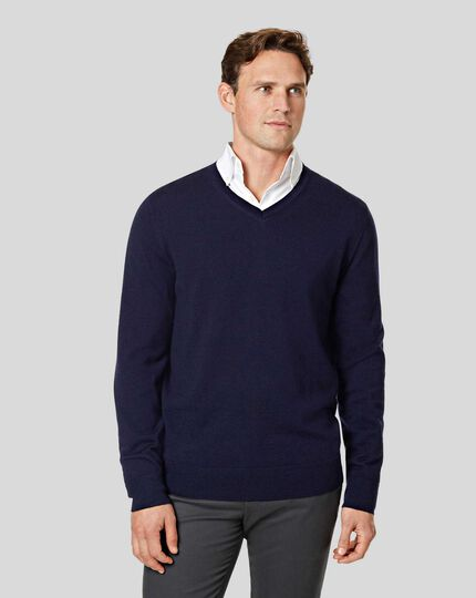 Merino V-Neck Jumper - Navy