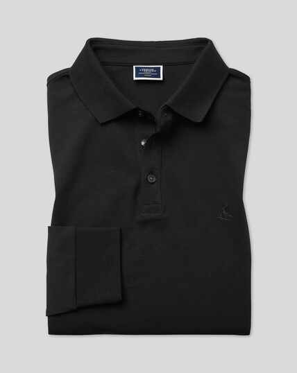 Tyrwhitt Long Sleeve Pique Polo - Black