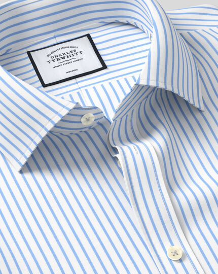 Classic Collar Non-Iron Twill Stripe Shirt - White & Sky