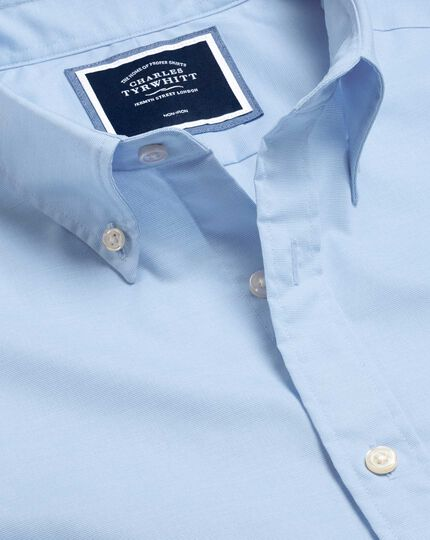 Button-Down Collar Non-Iron Stretch Poplin Shirt - Sky