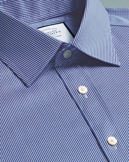 Slim fit non-iron royal blue puppytooth shirt