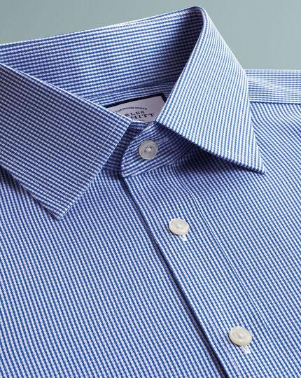 Bügelfreies Super Slim Fit Twill-Hemd mit Haifischkragen und Hahnentrittmuster in Königsblau