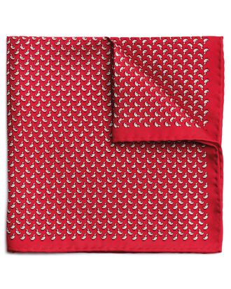 Red silk duck print pocket square