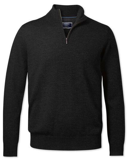 Dark charcoal merino zip neck jumper
