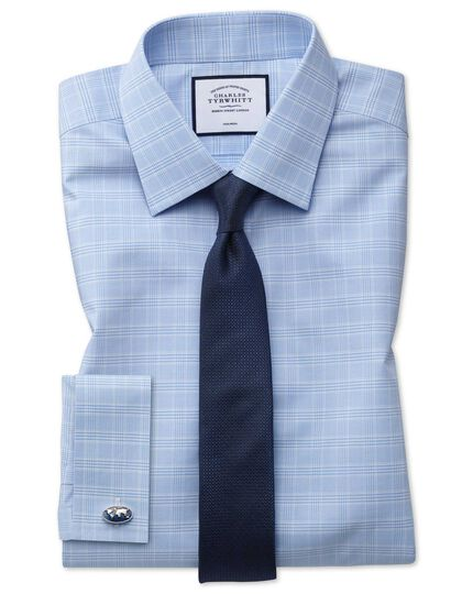 Super slim fit non-iron sky blue Prince of Wales check shirt