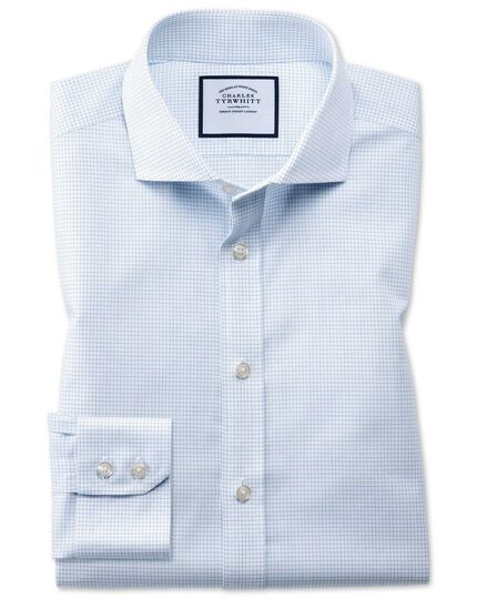 Extra slim fit cutaway non-iron natural cool micro check blue shirt