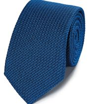 Bright blue silk plain grenadine Italian luxury tie