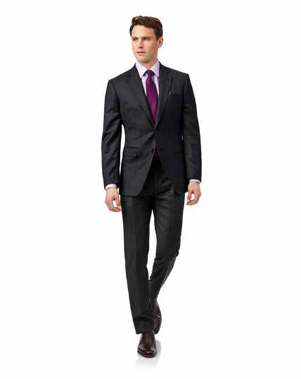 Grey check slim fit birdseye travel suit
