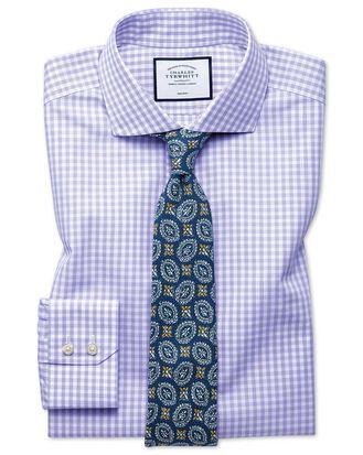 Slim fit non-iton purple check Tyrwhitt Cool shirt