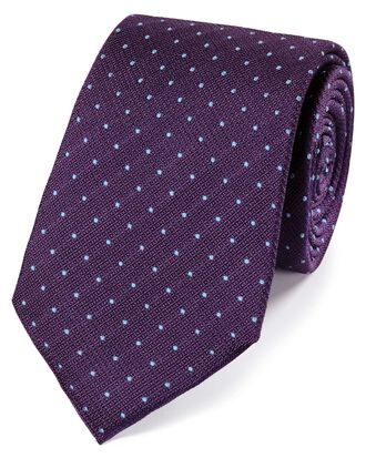 Purple and sky silk textured spot classic tie