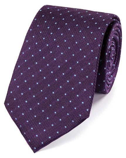 Klassische Krawatte aus Seide mit strukturierten Punkten in Violett und Himmelblau