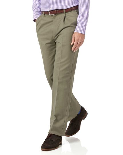 Olive classic fit single pleat non-iron chinos