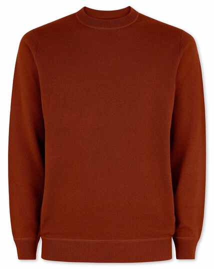 Burnt orange merino cashmere crew neck jumper
