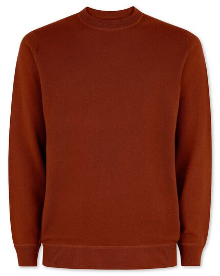 Dark orange merino cashmere crew neck sweater