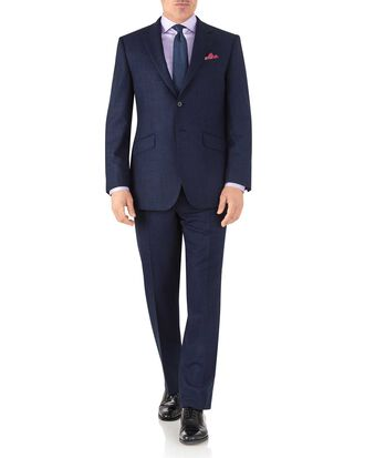 Royal blue classic fit flannel business suit