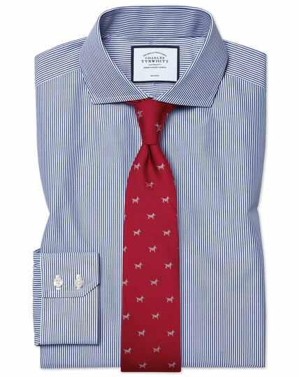 Bügelfreies Extra Slim Fit Hemd mit Haifischkragen und Bengal-Streifen in Marineblau