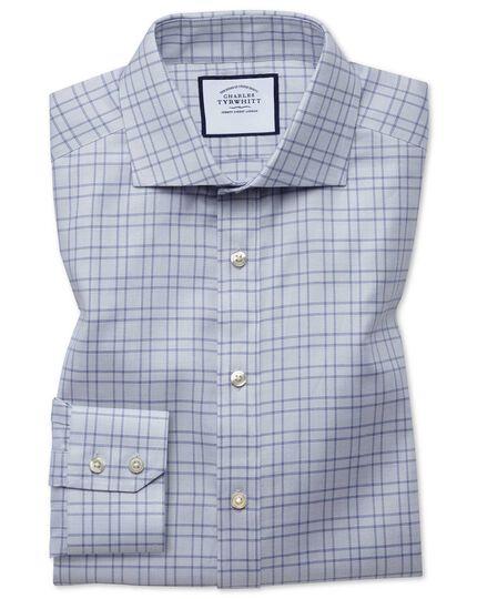 Chemise grise slim fit texturée à carreaux