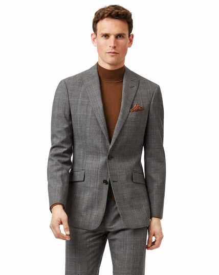 Grey with tan Prince of Wales check slim fit suit jacket