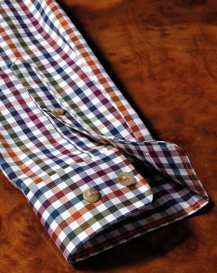Bügelfreies Classic Fit Hemd aus Popeline in Beerenrot mit Bunten Gingham-Karos