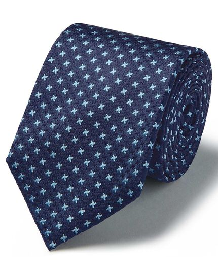 Blue silk three colour puppytooth stain resistant tie