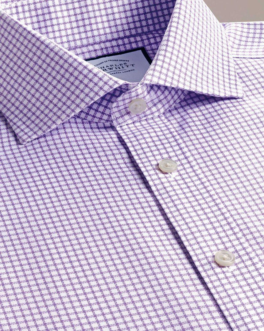 Non-Iron Grid Check Oxford Stretch Shirt - Lilac