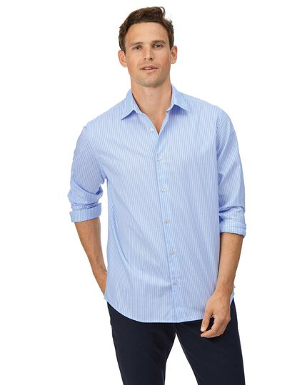 Classic fit soft washed textured sky blue and white stripe shirt