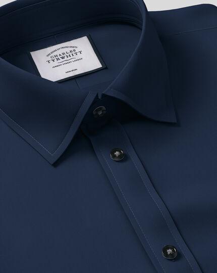 Chemise bleu marine en twill coupe droite sans repassage