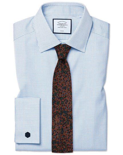 Slim fit non-iron sky blue mini grid check twill shirt