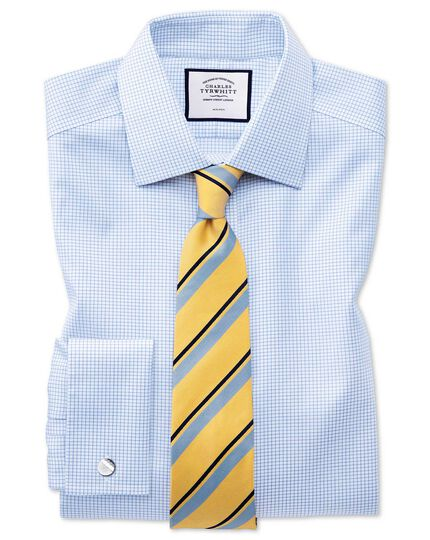 Yellow and blue stripe silk classic tie