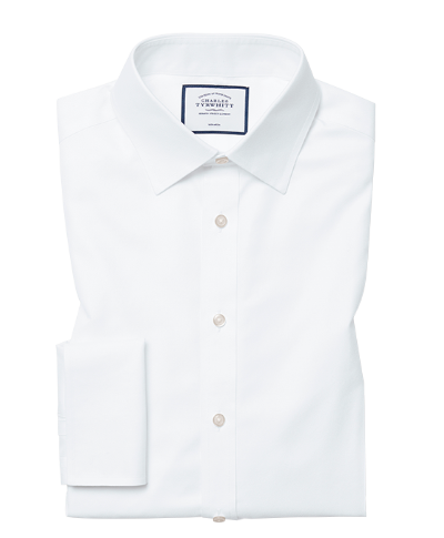 Slim fit white non-iron twill shirt