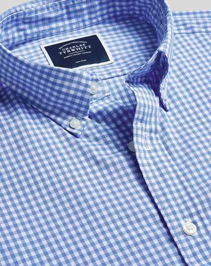 Bügelfreies Popeline-Hemd aus Stretchgewebe mit Button-down-Kragen und Gingham-Karos - Himmelblau