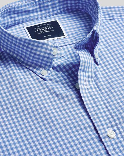 Button-Down Collar Non-Iron Stretch Poplin Gingham Shirt - Sky