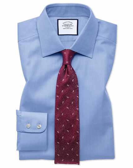 Classic fit sky blue fine herringbone shirt