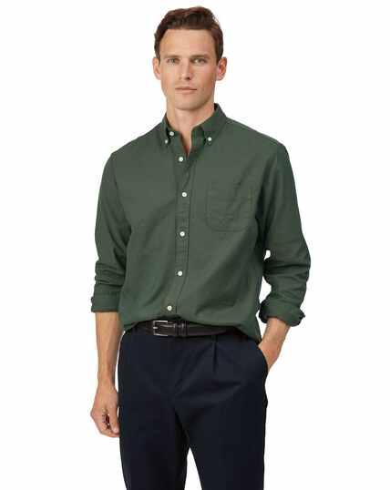 Groen gewassen Oxford-overhemd met buttondown-kraag, klassieke pasvorm