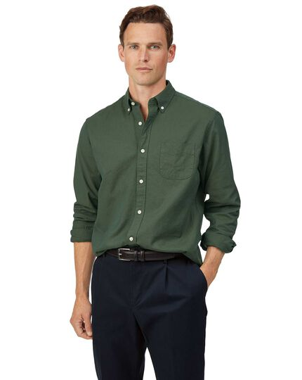 Classic fit green button-down washed Oxford plain shirt