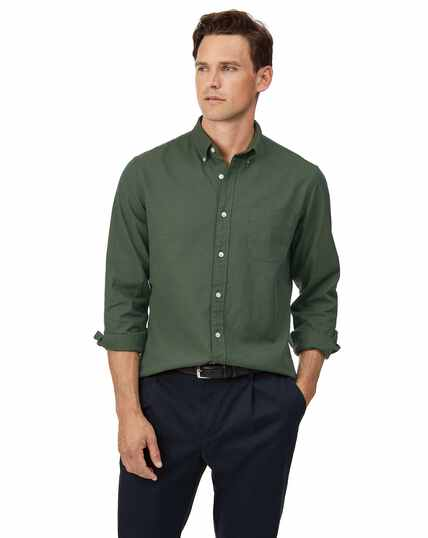 Slim fit green button-down washed Oxford plain shirt