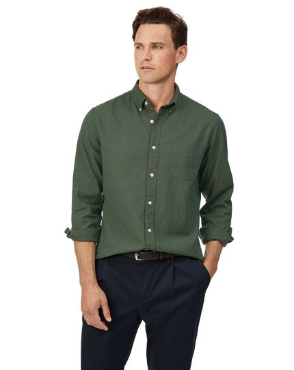 Slim fit button-down washed Oxford green shirt