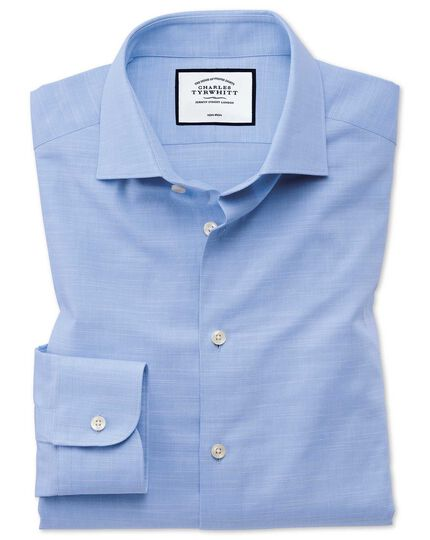 Extra slim fit business casual Egyptian cotton slub sky blue shirt