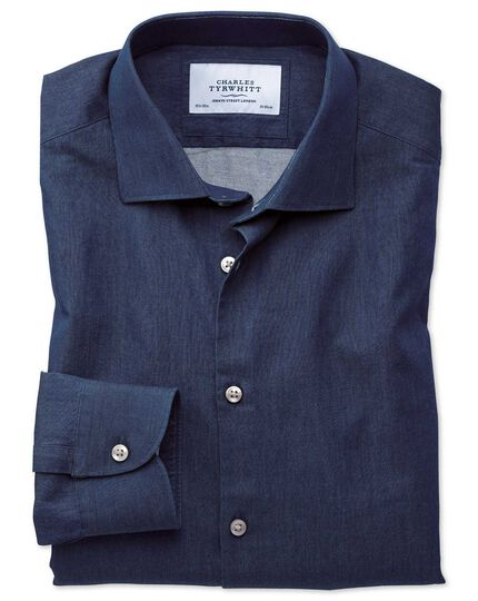 Extra slim fit semi-spread collar business casual indigo dark blue shirt