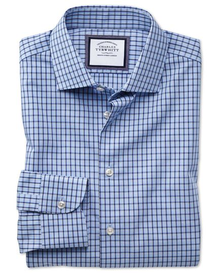 Slim fit semi-cutaway non-iron business casual sky blue and navy check shirt