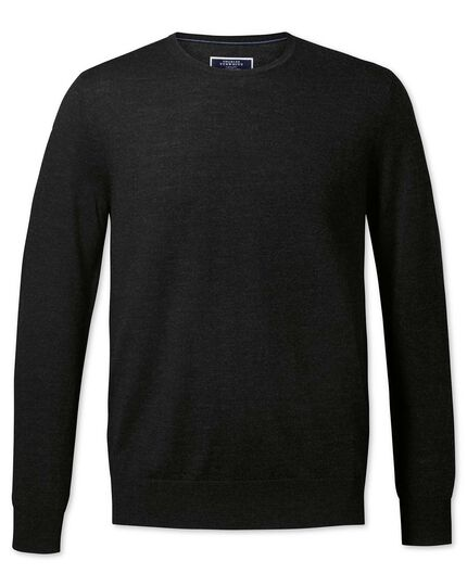 Dark charcoal merino crew neck sweater